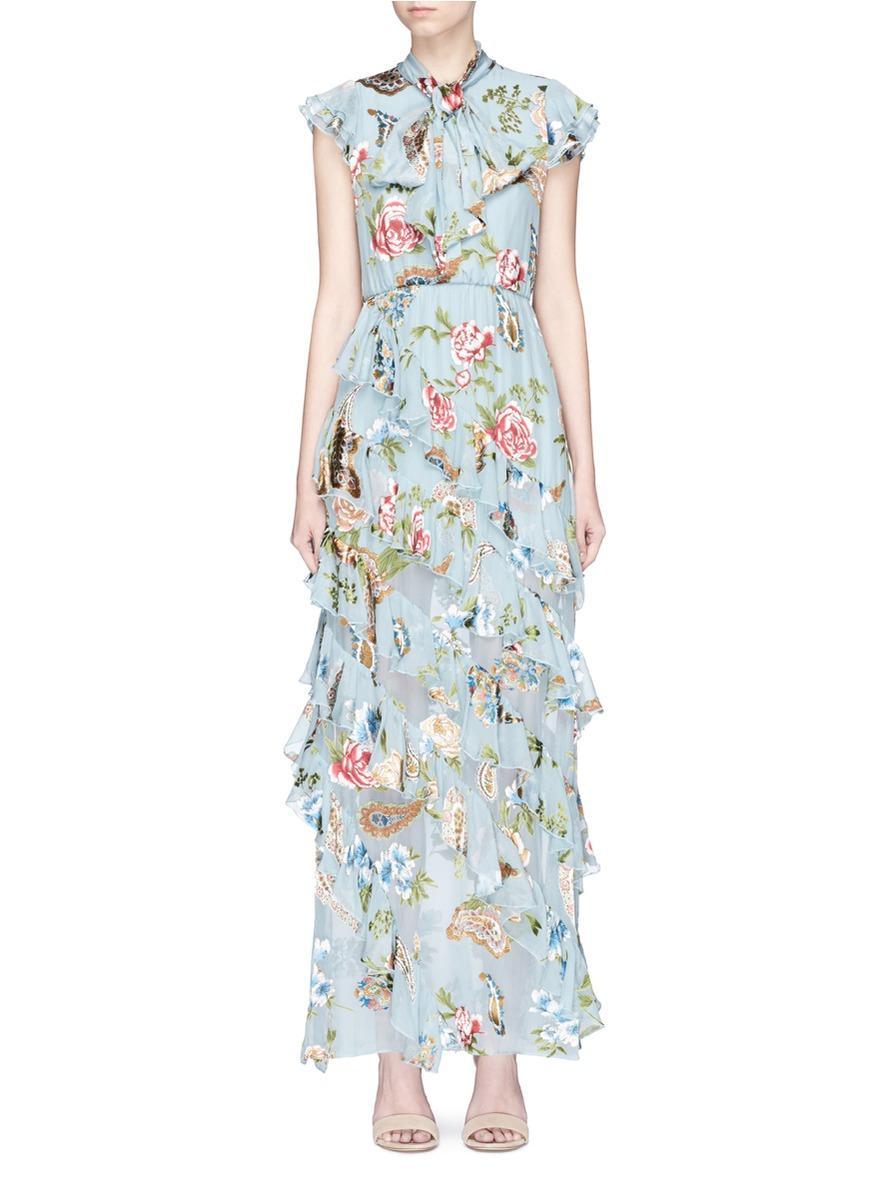 d34ca344737 Alice + Olivia  lessie  Scarf Ruffle Floral Fil Coupé Chiffon Dress ...
