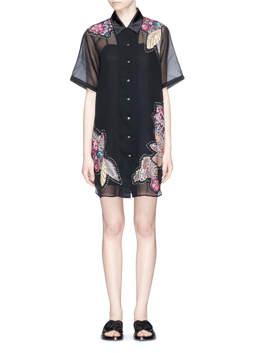 Lyst 3 1 phillip lim stud floral patchwork sheer silk for Black studs for dress shirt