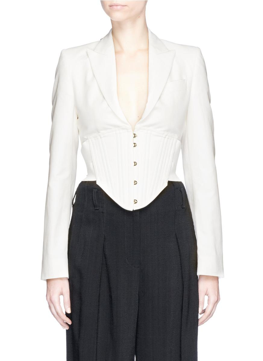 8016e1953d8 Lyst - Stella McCartney  abigail  Corset Waist Tailored Jacket in White
