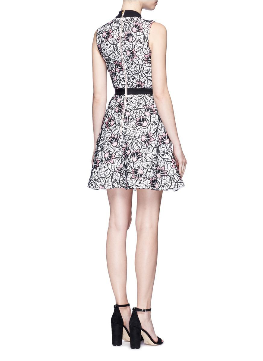 66c7600637c Self-Portrait  nightshade  Floral Guipure Lace Flared Midi Dress in Black -  Lyst