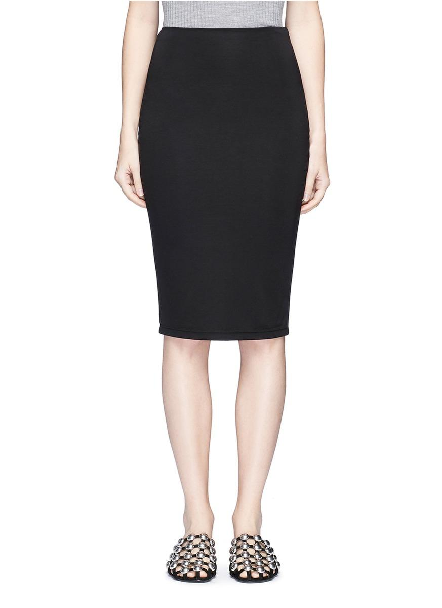t by wang ponte knit pencil skirt in black lyst