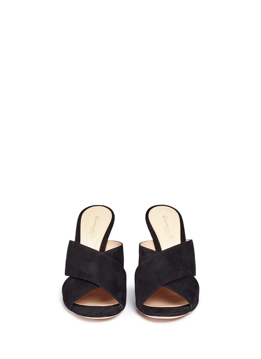 Gianvito rossi Cross Front Suede Mules in Black