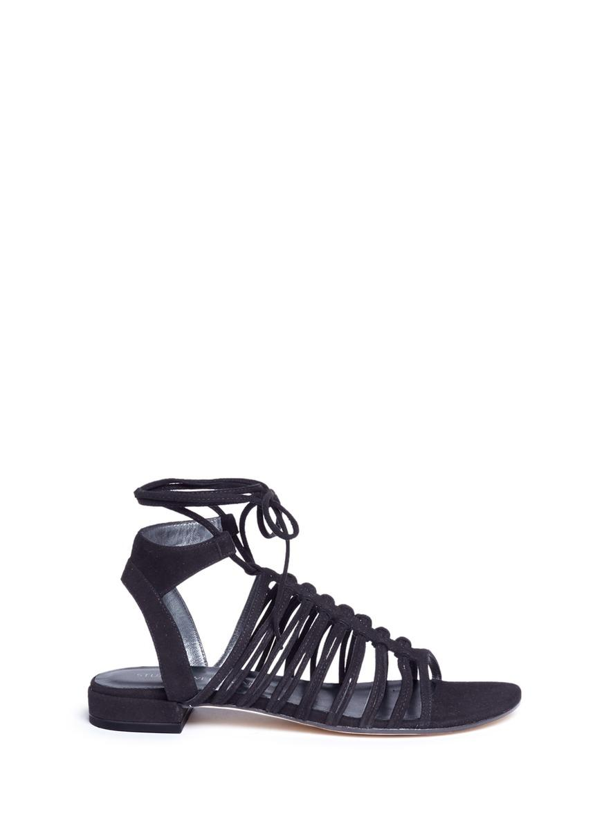 Lyst Stuart Weitzman Knot Again Tie Ankle Caged Suede