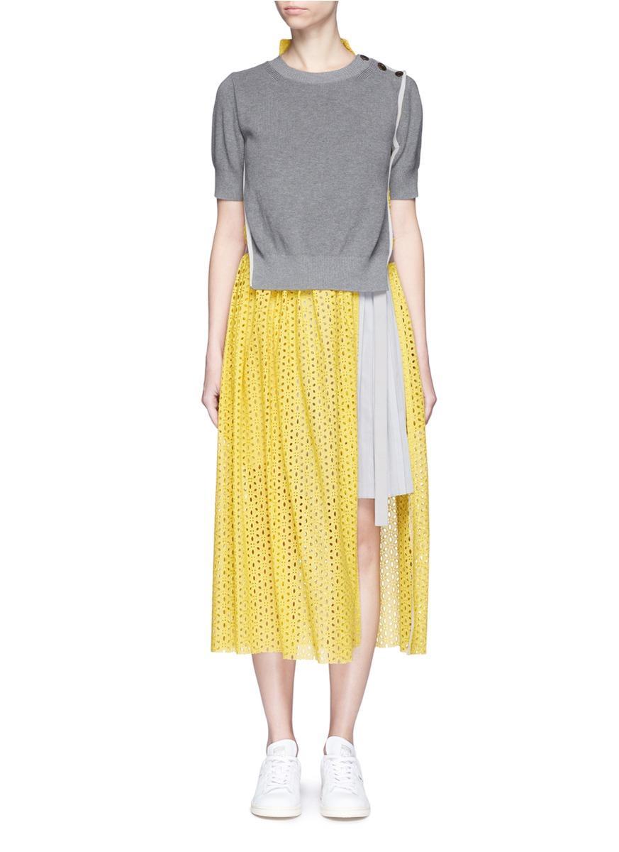 Sacai Sweater Overlay Eyelet Lace Pleated Dress