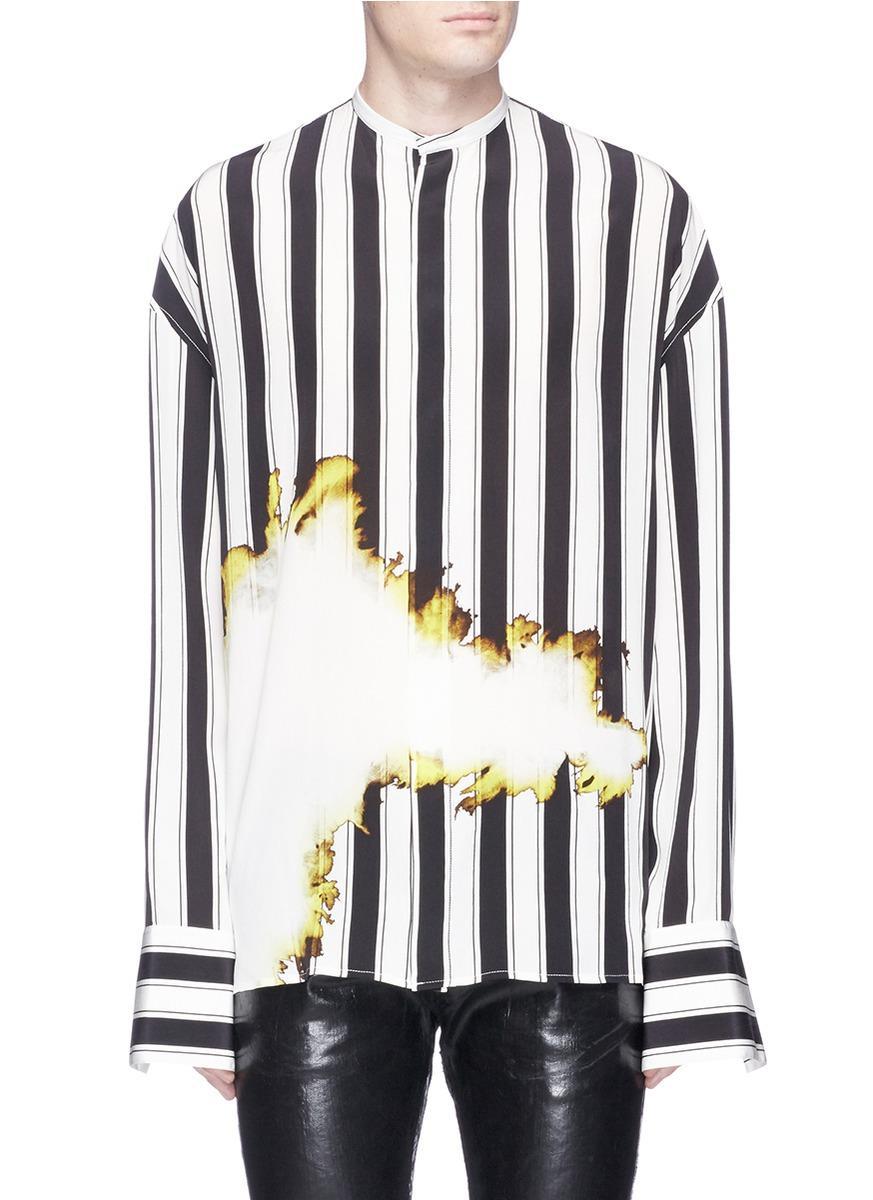 3a7c3c7fa3 Haider Ackermann Stripe Bleach Print Silk Shirt for Men - Lyst