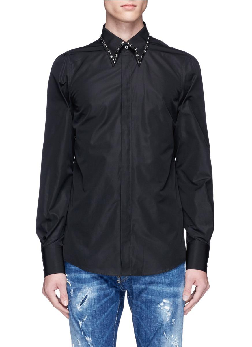 Lyst Dsquared Stud Collar Shirt In Black For Men