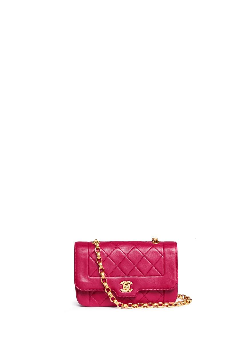 Chanel Border Tab Mini Quilted Leather Flap Bag In Purple