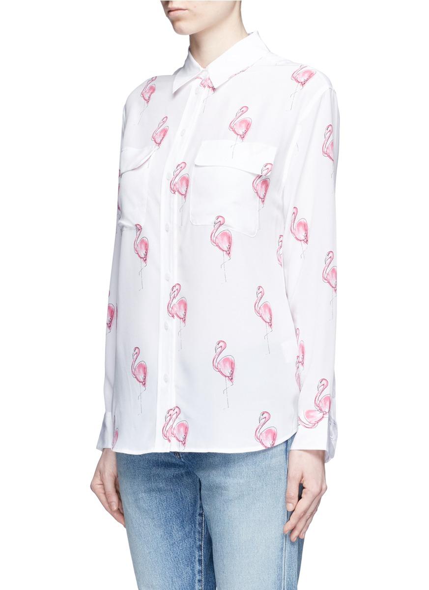 Equipment 39 signature 39 flamingo print silk shirt in white for Equipment signature silk shirt