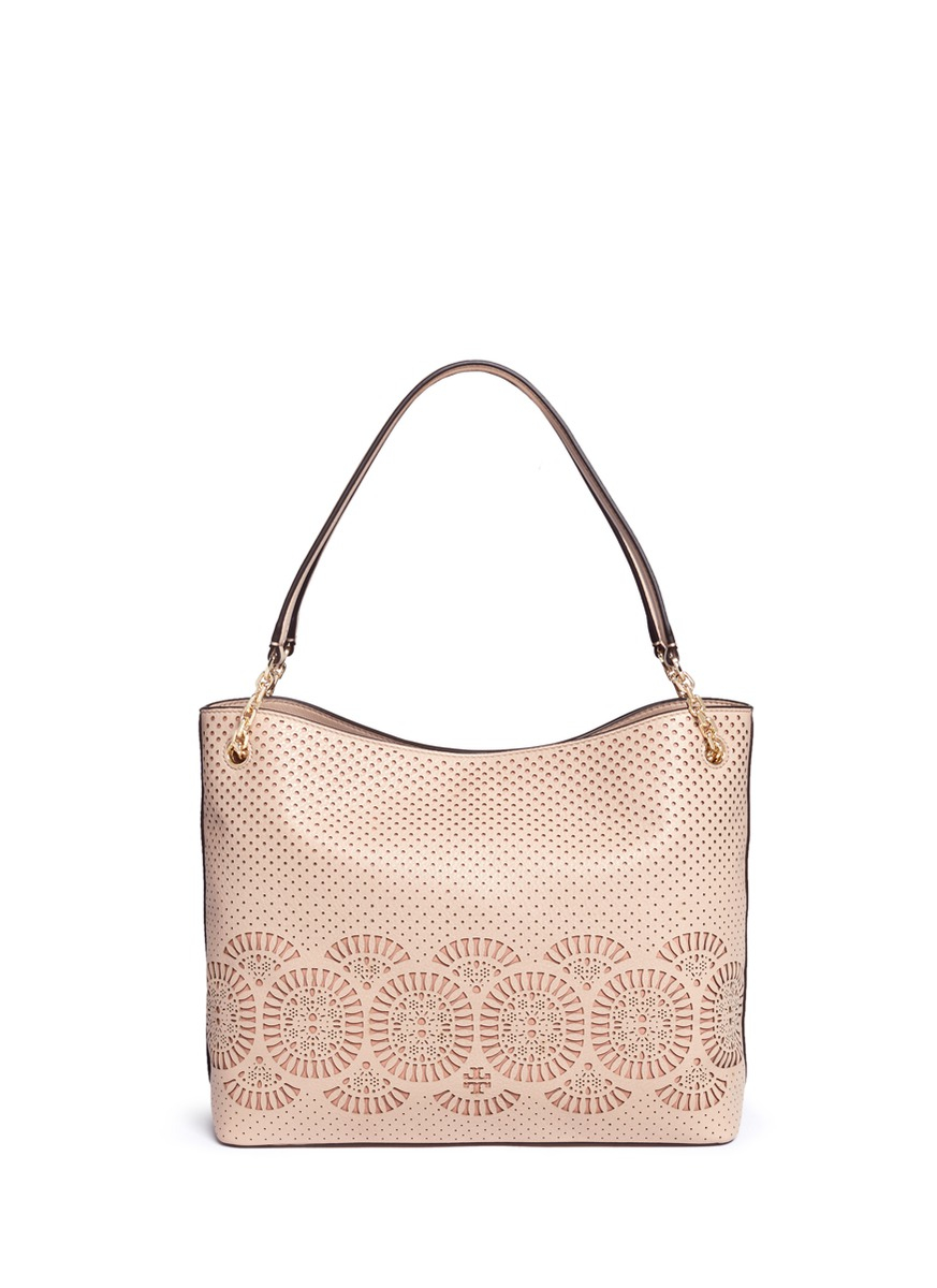 5815fd273fbb Tory Burch Zoey Perforated Leather Tote Bag in Gray - Lyst