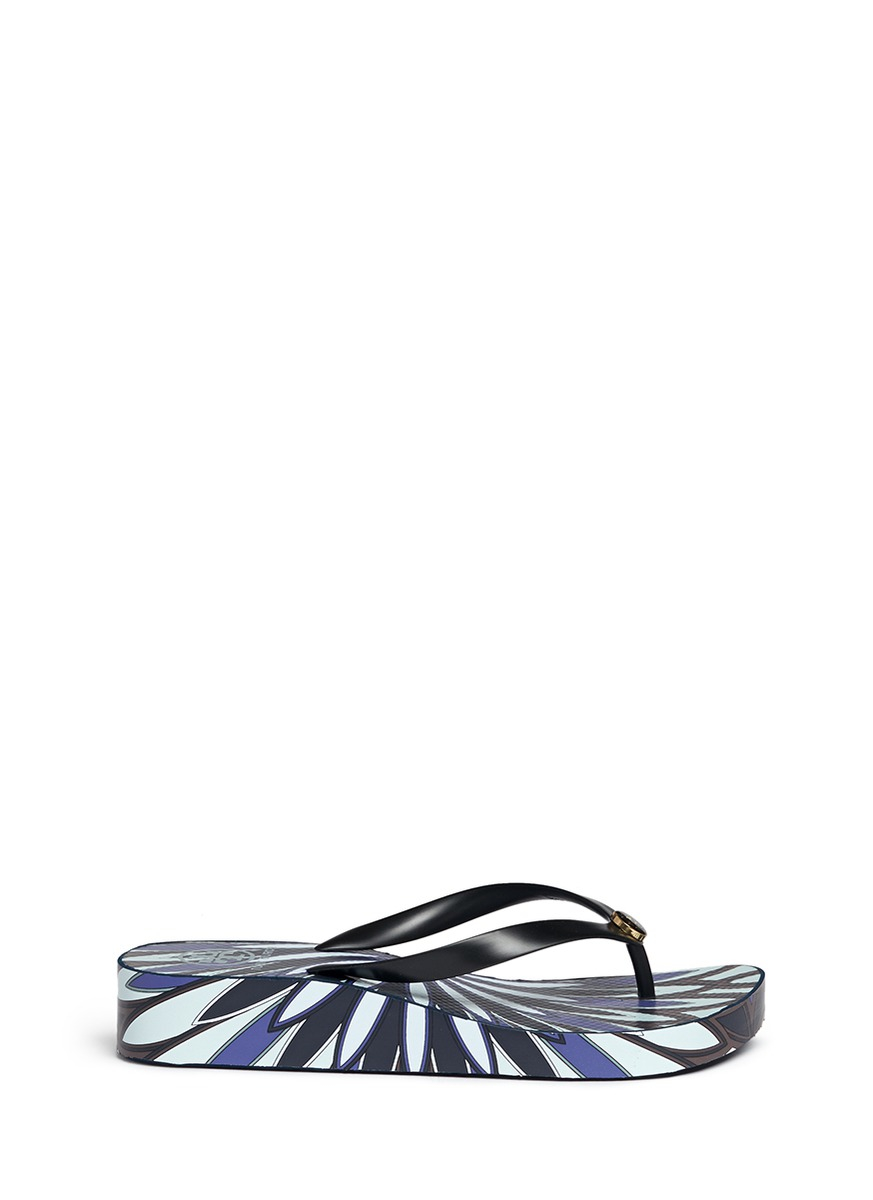 e2f8f3ebc0ee3 Lyst - Tory Burch  thandie  Floral Print Wedge Flip Flops in Blue