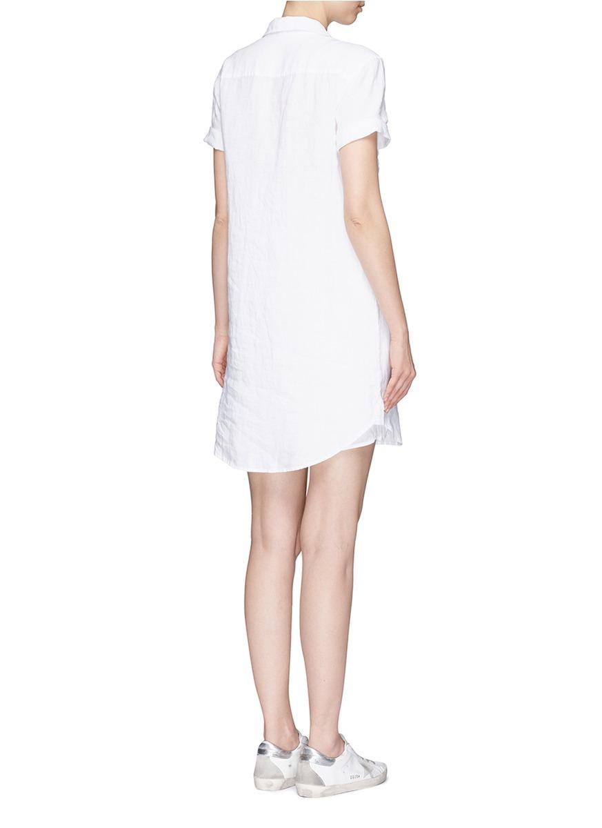 Lyst james perse 39 utility 39 linen shirt dress in white for White linen dress shirt
