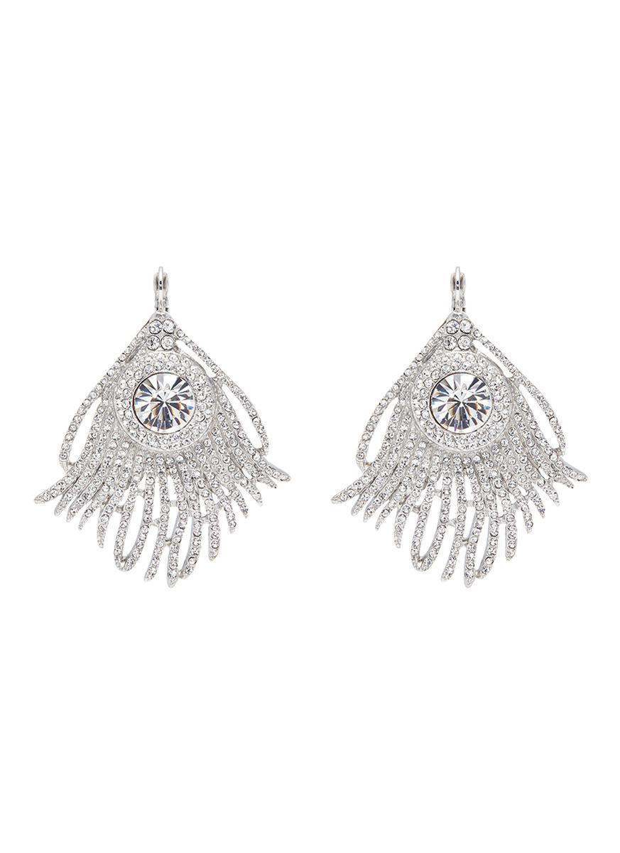 Kenneth Jay Lane Crystal Feather Clip Earring Crystal/silver rySdgvje2J