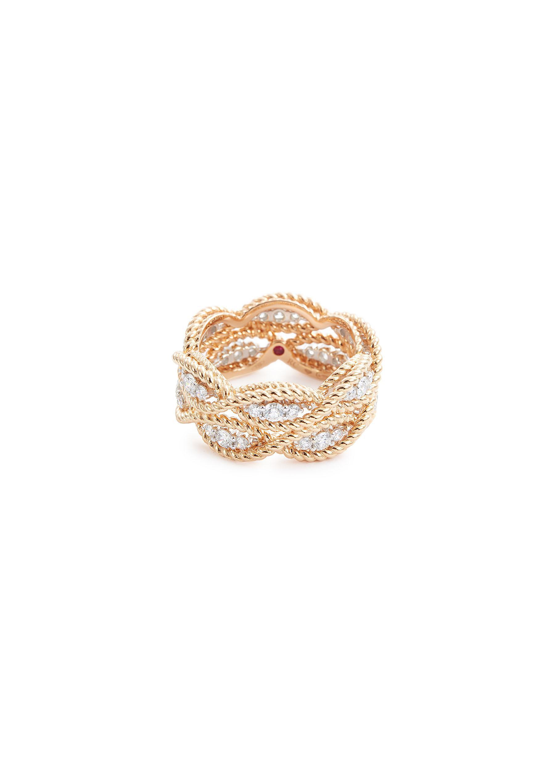 2030771572f2c Lyst - Roberto Coin  new Barocco  Diamond 18k Rose Gold Two Row Ring ...