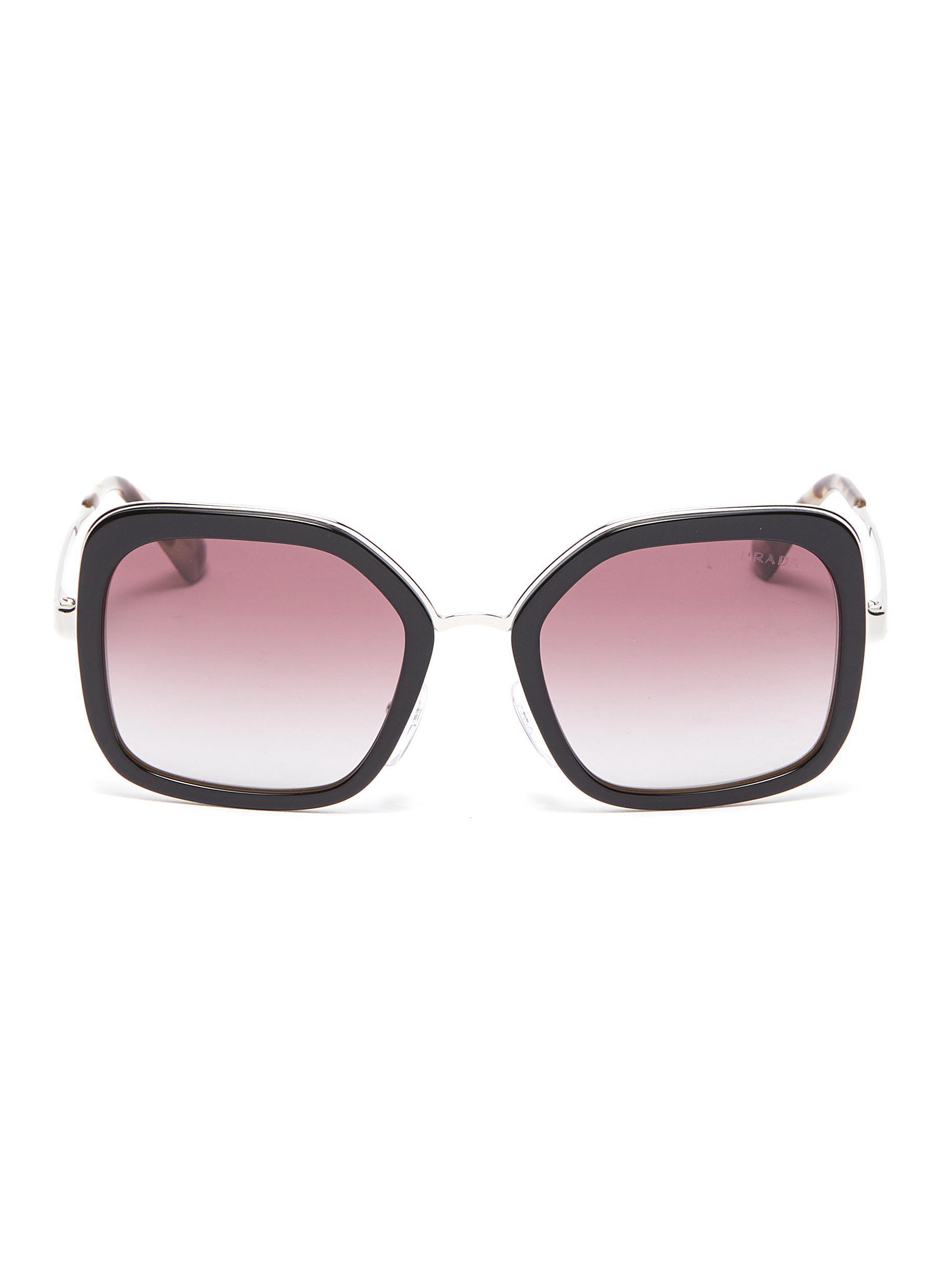 14644cec76 Lyst - Prada Acetate Rim Metal Square Sunglasses in Black