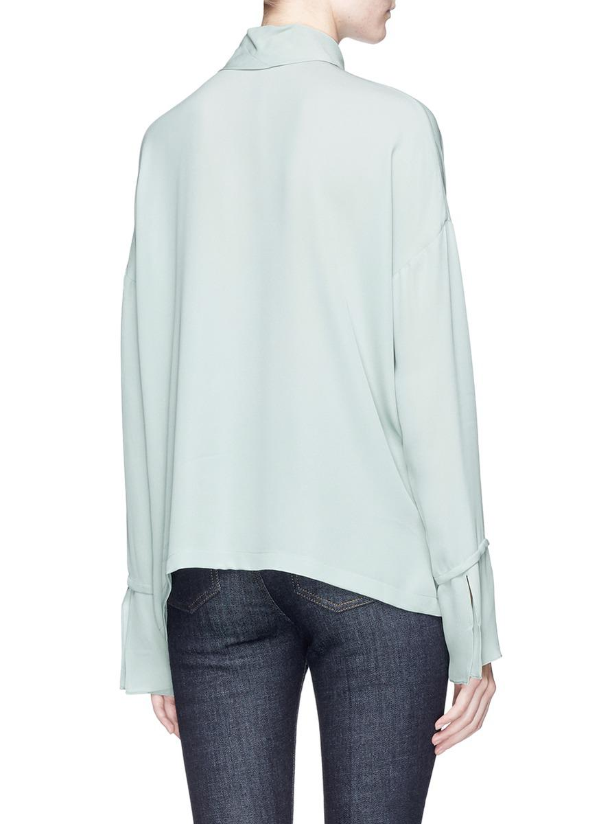f60af28ad8577d Lyst - Theory Scarf Silk Crepe Shirt in Green
