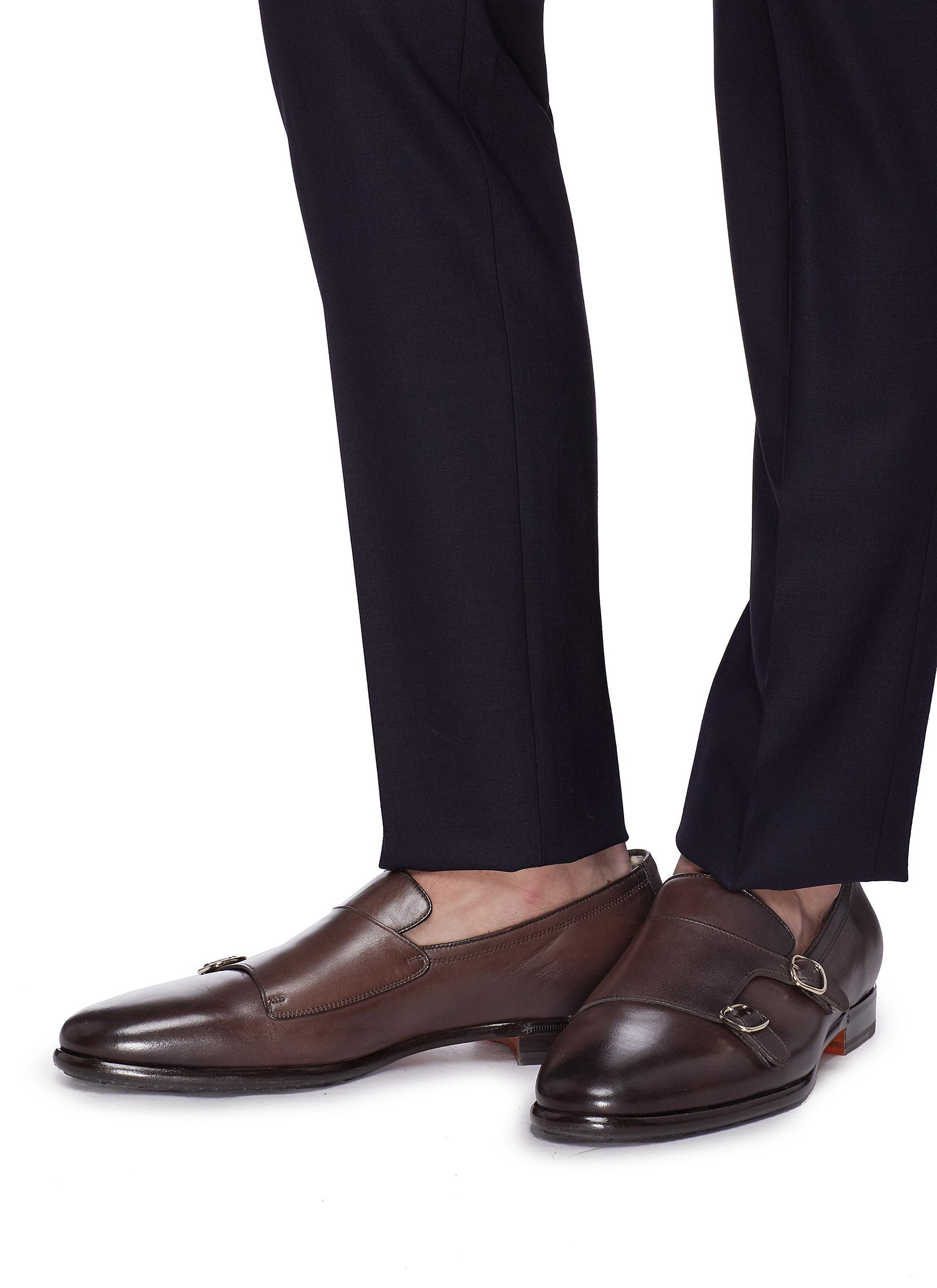 39d1390f6d0825 Lyst - Santoni Double Monk Strap Leather Loafers in Brown for Men