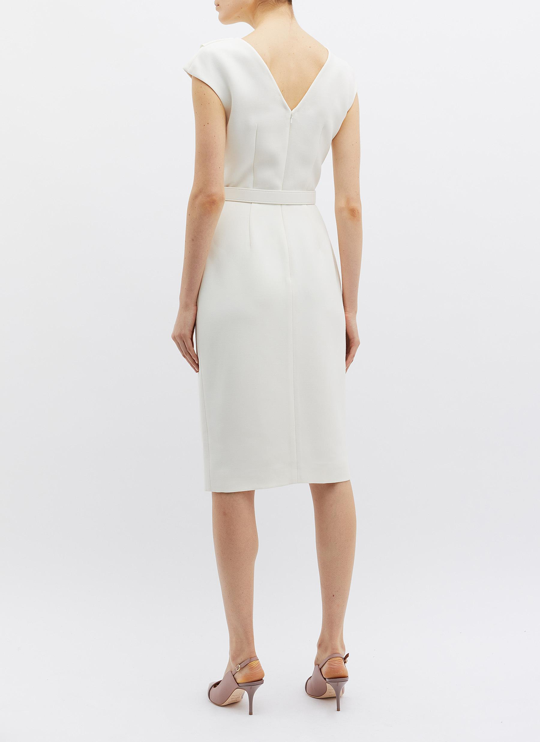 d47489aa97c Oscar de la Renta Belted Mock Wrap Wool-silk Dress in White - Lyst
