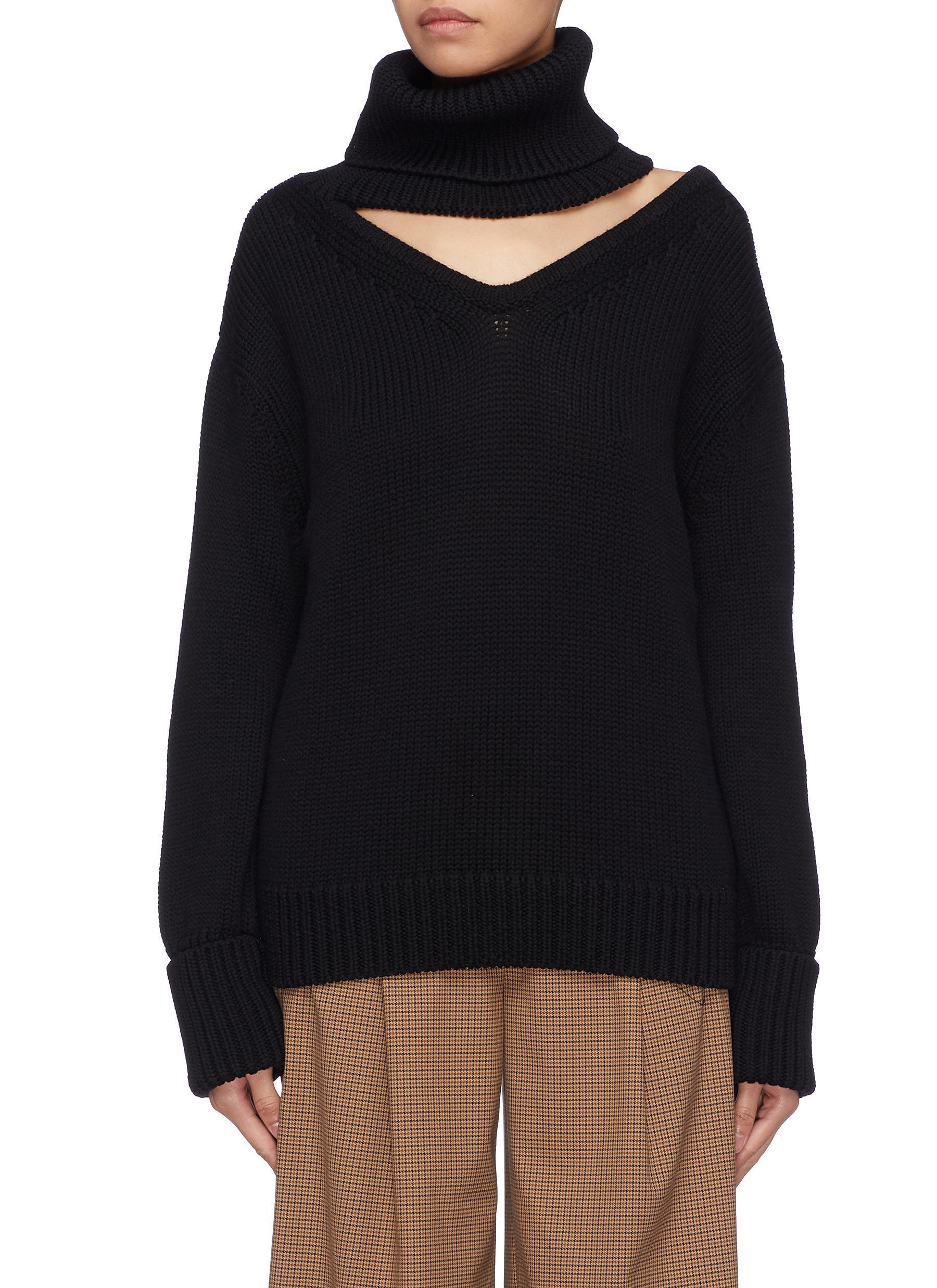 Monse Cutout Yoke One Shoulder Wool Turtleneck Sweater In Black Lyst
