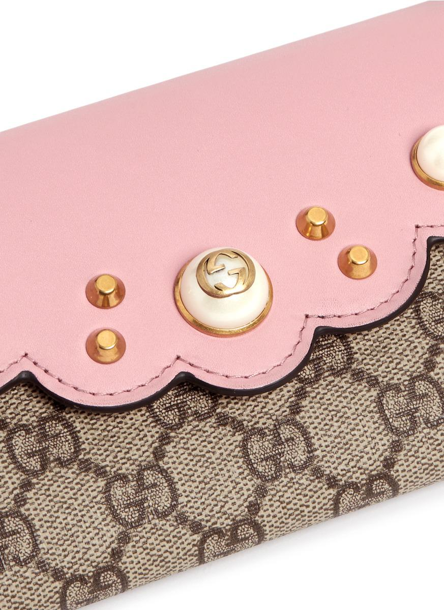 e19cbd90aa0cf8 Gucci 'peony' Logo Faux Pearl Stud Canvas Continental Wallet in Pink ...