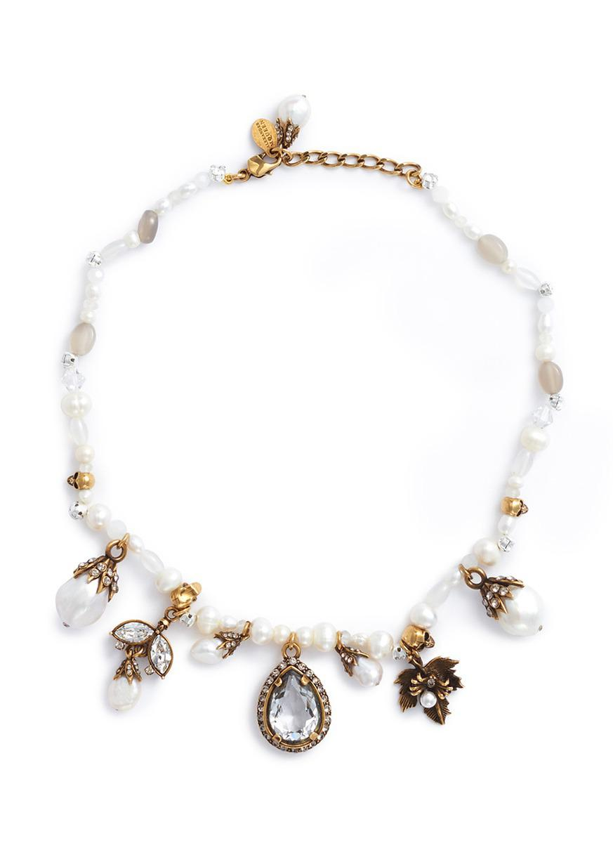 Onyx, faux-pearl and crystal-embellished necklace Alexander McQueen