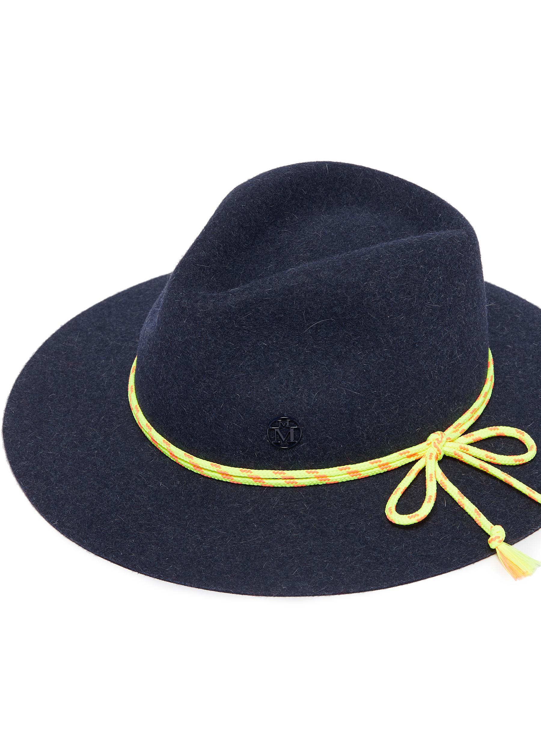 9555dd80df703 Lyst - Maison Michel  rico  Cord Rabbit Furfelt Fedora Hat in Blue ...
