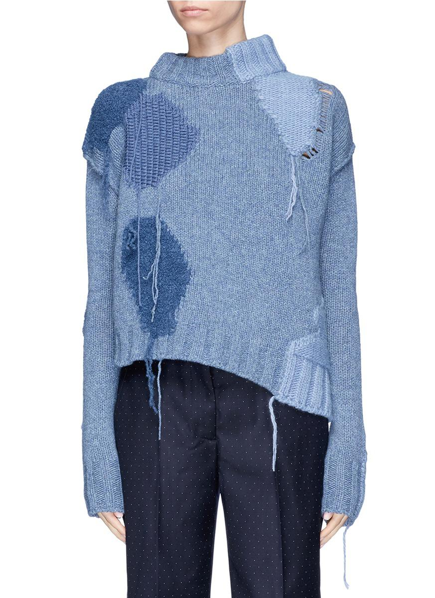 lyst acne 39 ovira 39 fringe intarsia patch sweater in blue. Black Bedroom Furniture Sets. Home Design Ideas