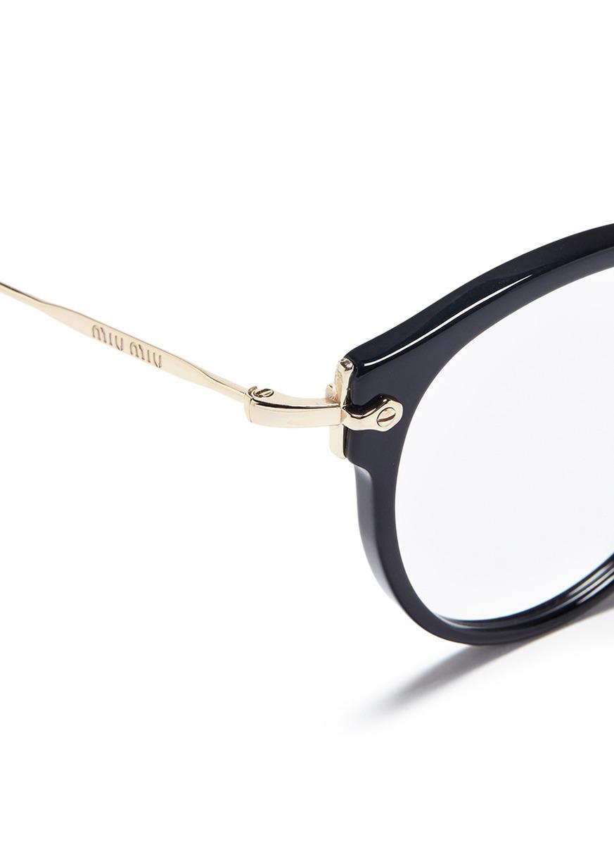 37d427f7d442 Lyst - Miu Miu Metal Temple Acetate Panto Optical Glasses in Black
