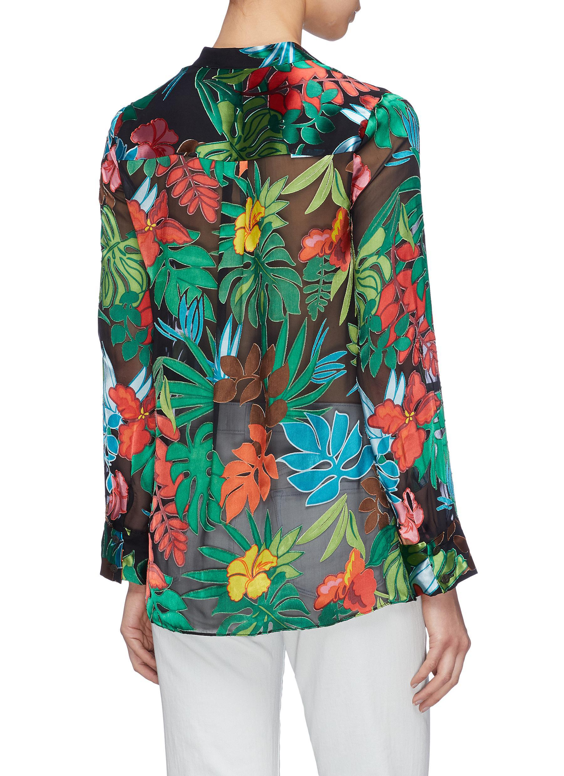4b44b1ba606 Alice + Olivia - Multicolor 'amos' Floral Palm Leaf Burnout Tunic Top for  Men. View fullscreen