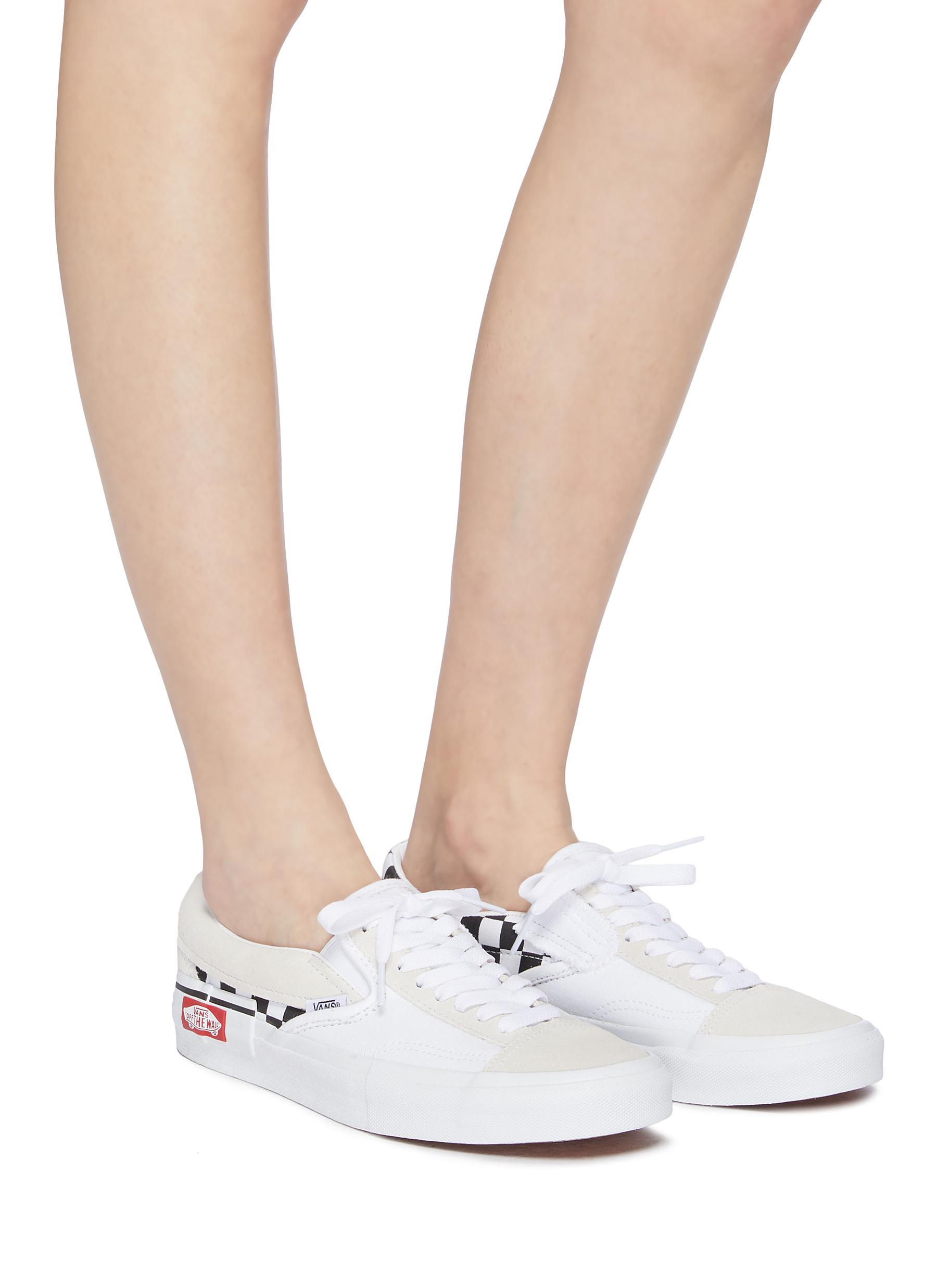 bc38a48e26276 Vans 'slip-on Cap' Checkerboard Patchwork Canvas Sneakers in White ...