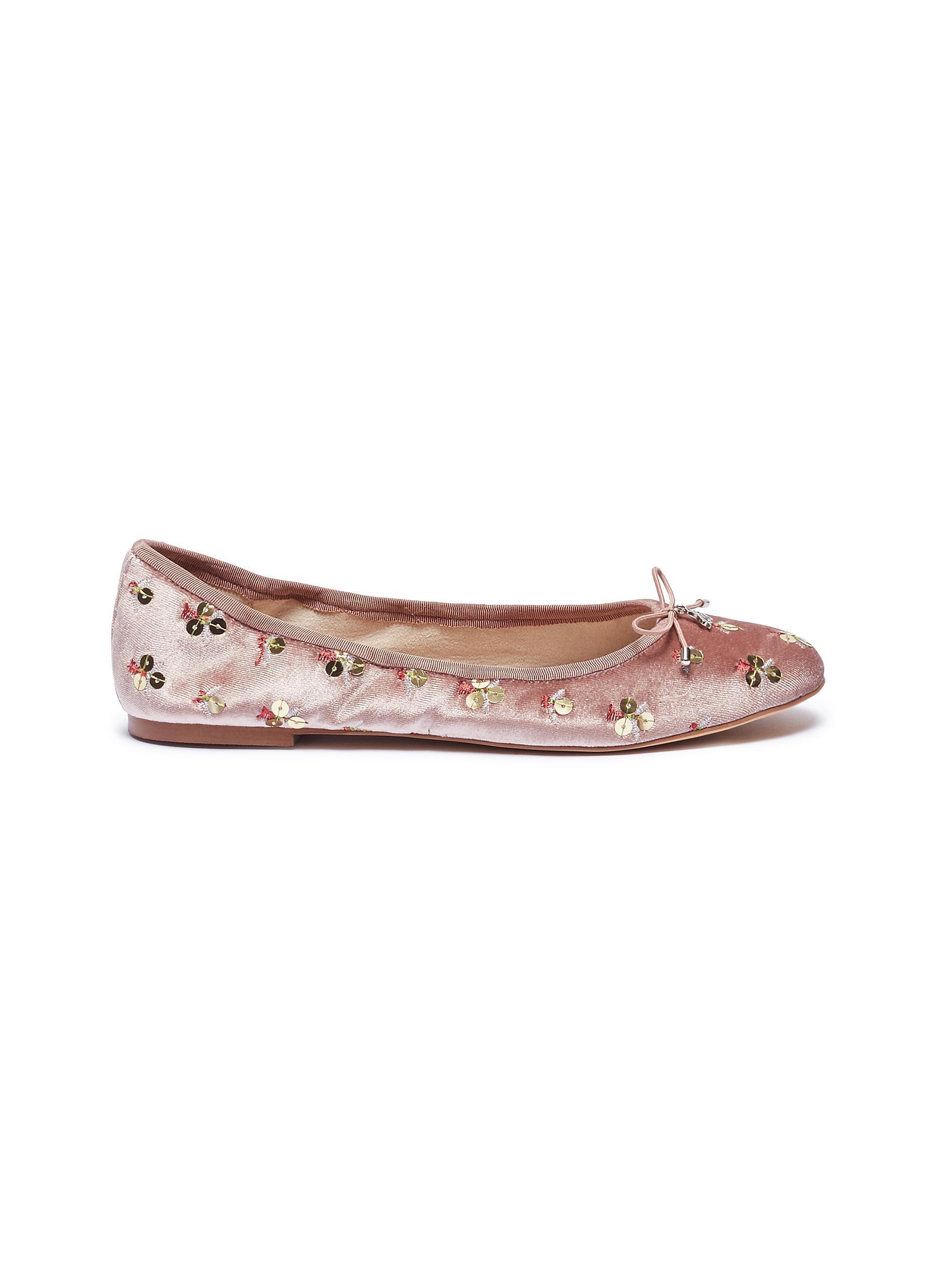 0dc897a305f32 Lyst - Sam Edelman  felicia  Sequinned Velvet Ballet Flats in Pink