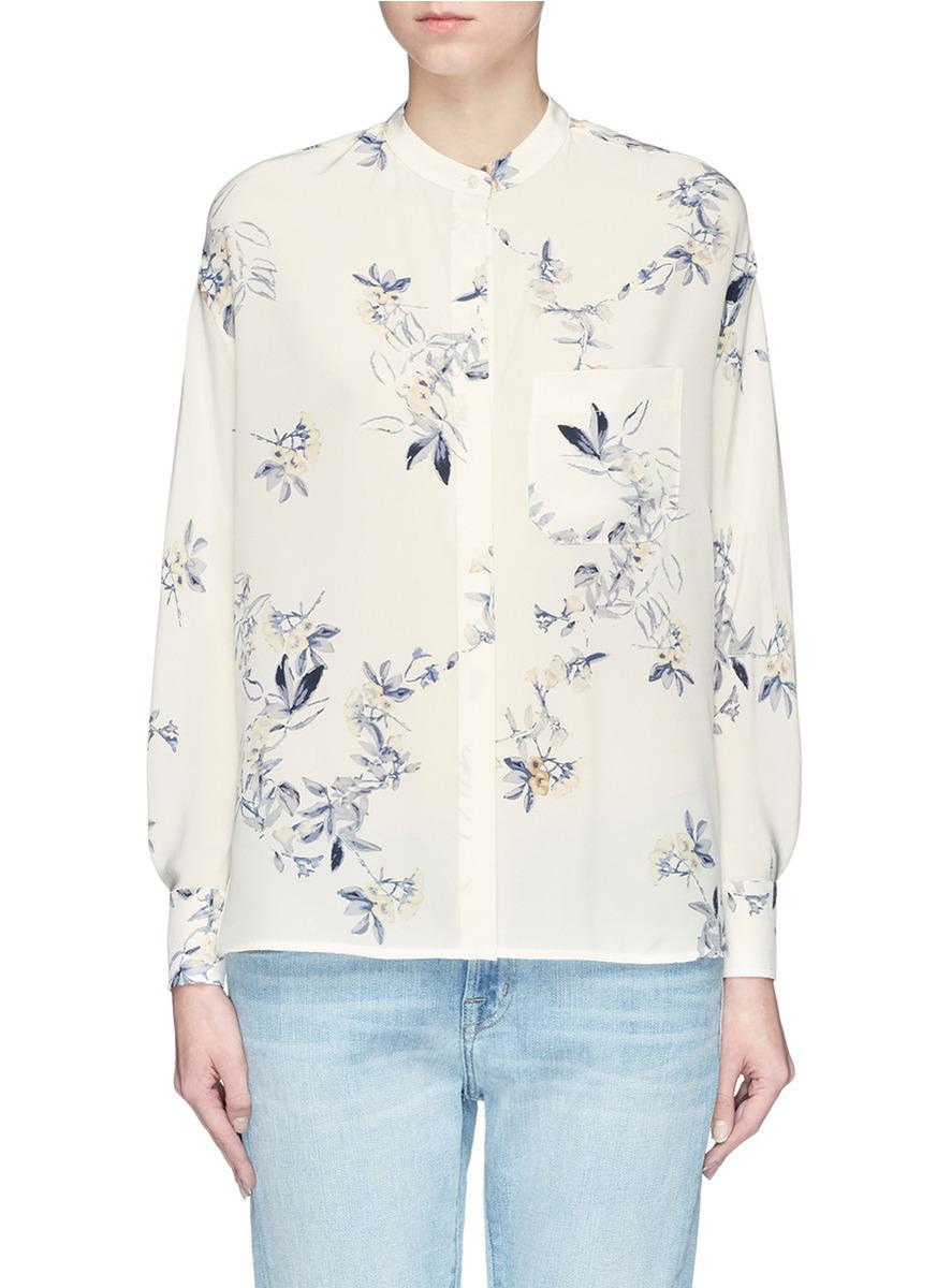 277f28907b4f3 Lyst - Vince  spaced Floral  Print Silk Crepe Blouse