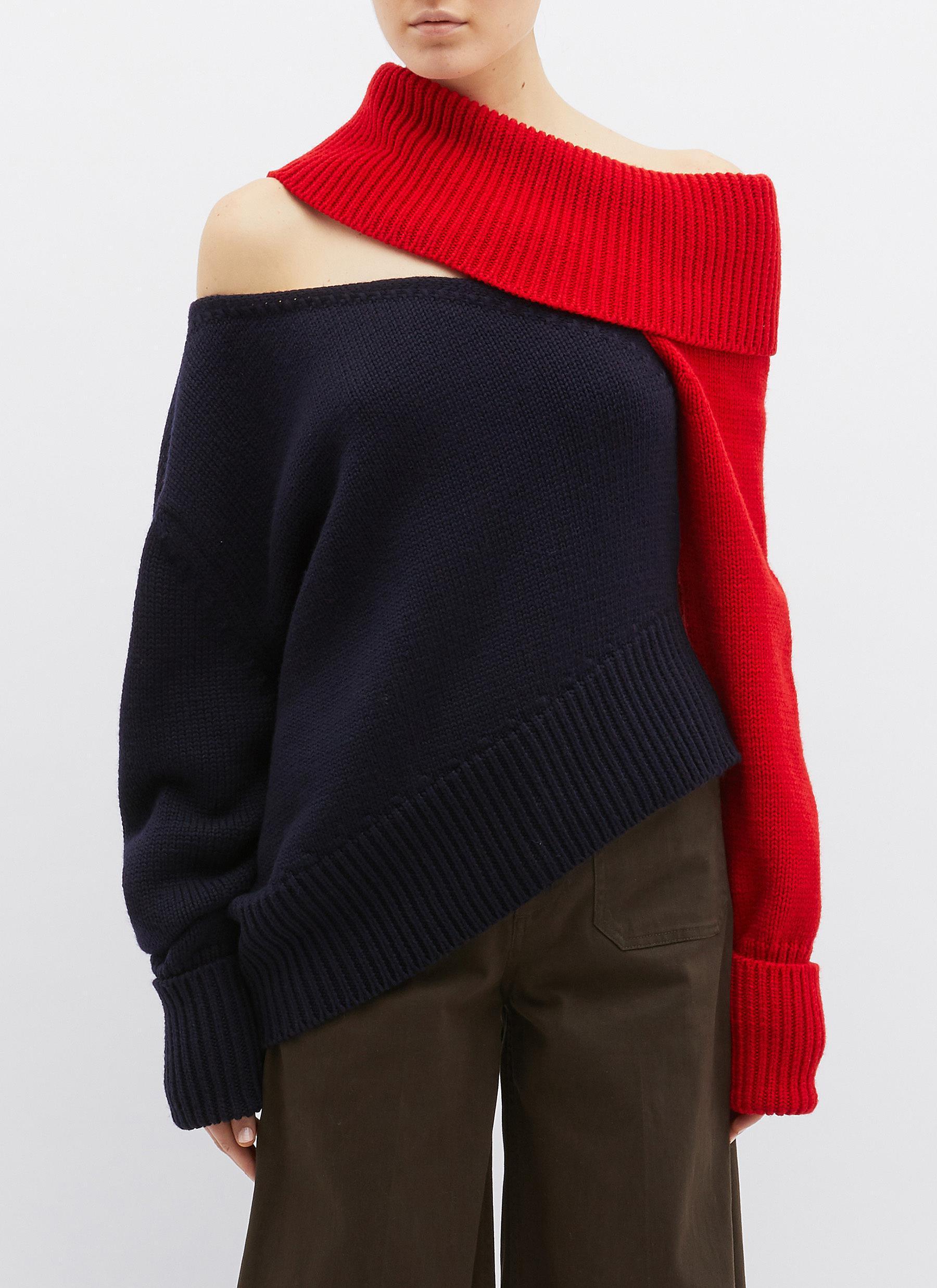 Monse Cutout Colourblock Off-shoulder Wool Sweater for Men - Lyst 26e16919e