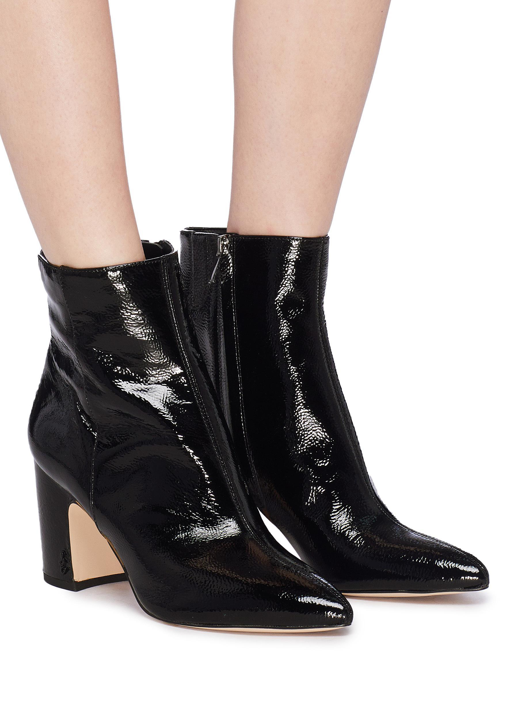 1a509db75ae93 Lyst - Sam Edelman  hilty  Crinkled Patent Leather Ankle Boots in Black