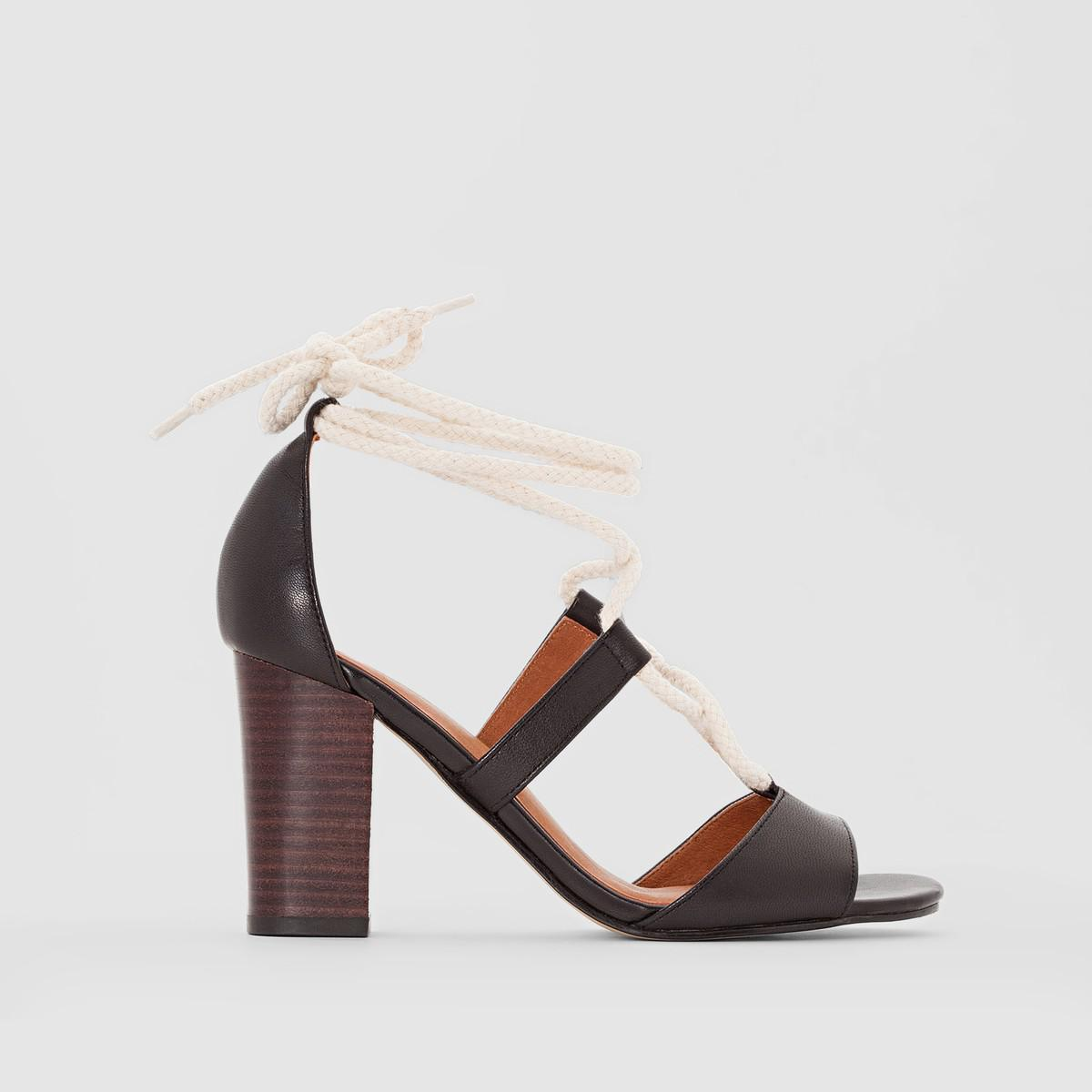 new styles sale online cheap sale 2014 new La Redoute Collections Leather Sandals with Openwork Straps XQumUP6H
