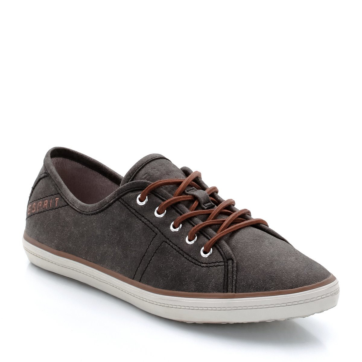 esprit matilda lace up low top trainers in gray lyst. Black Bedroom Furniture Sets. Home Design Ideas