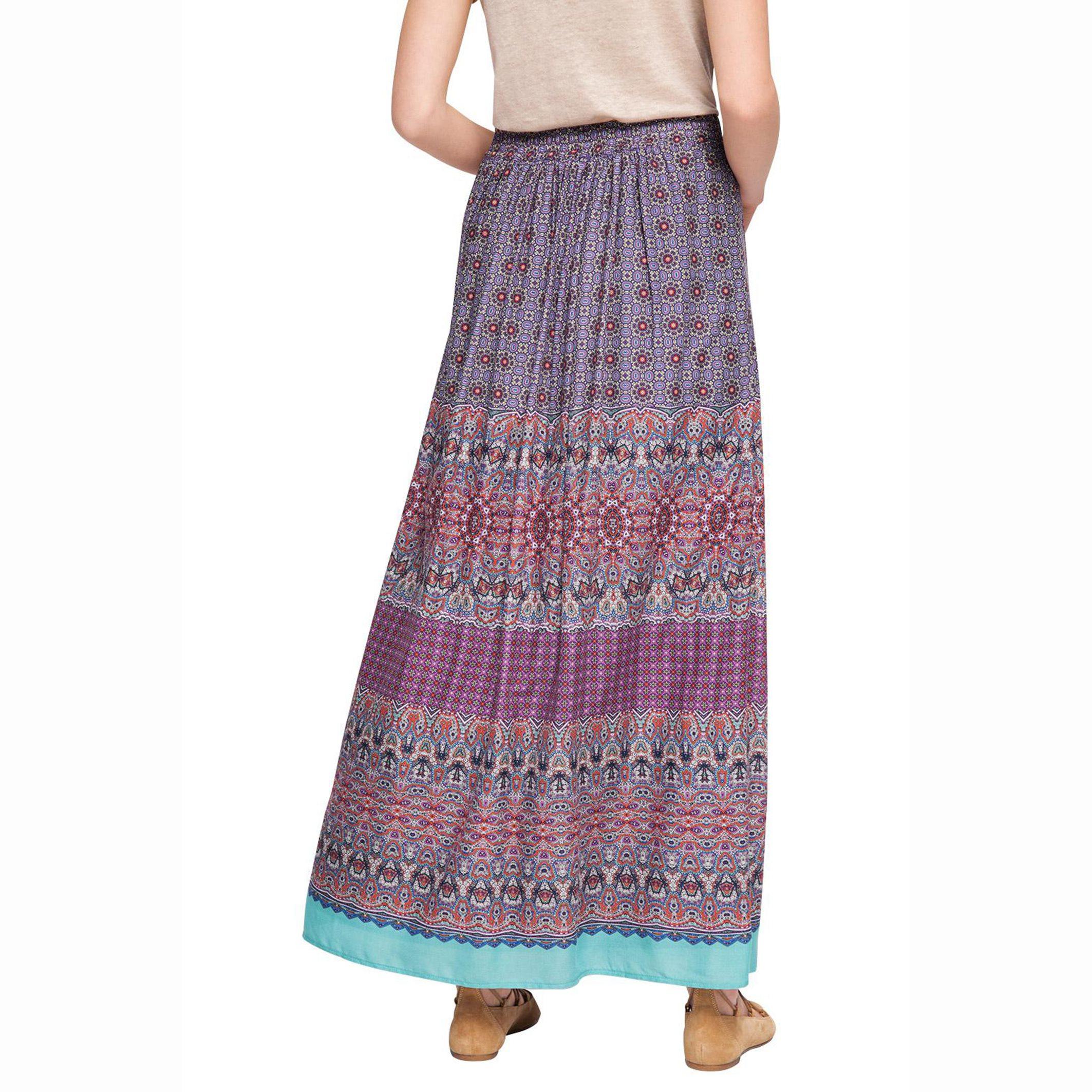 esprit scarf print maxi skirt in pink lyst