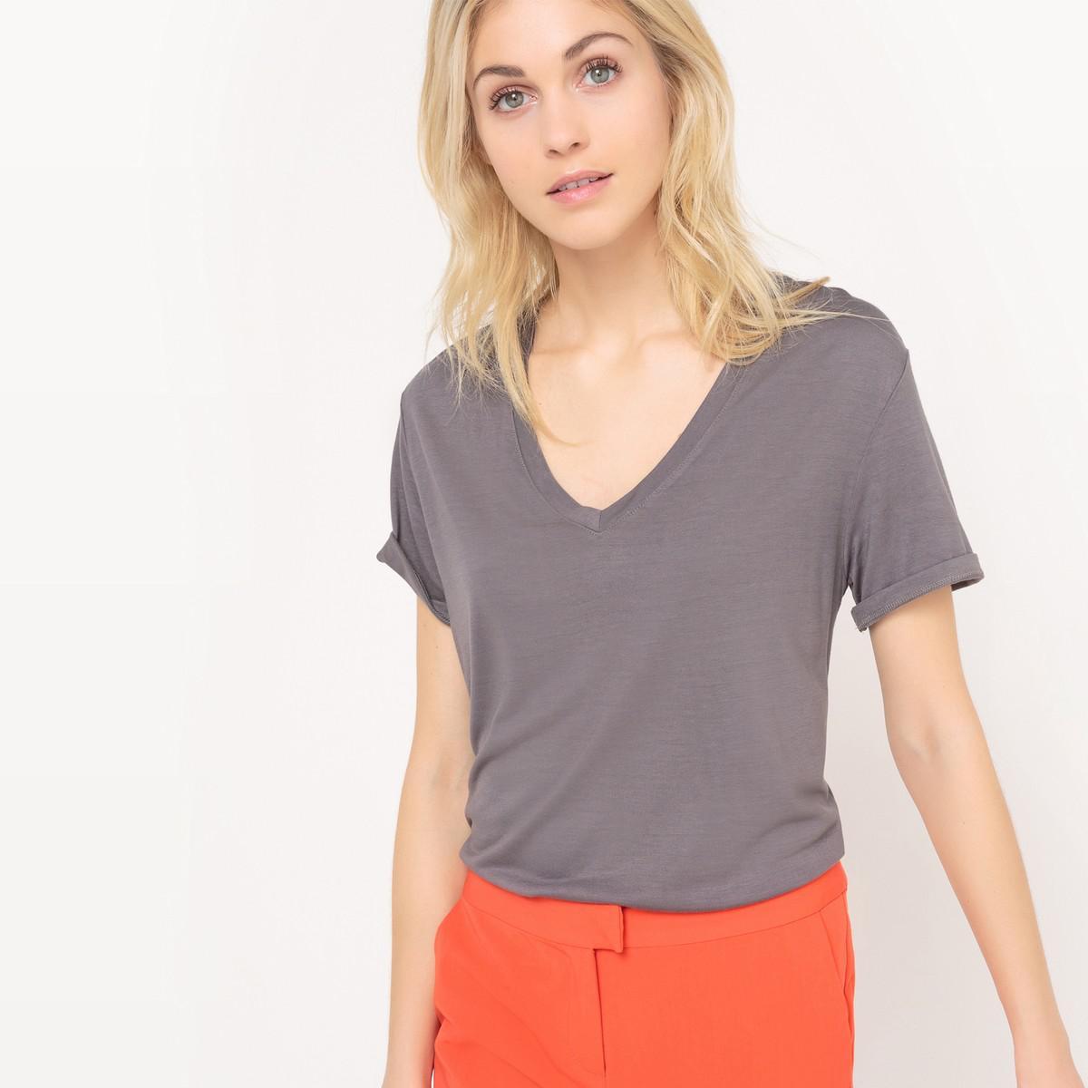 fc58cc977edd Lyst - La Redoute Long V-neck T-shirt in Gray