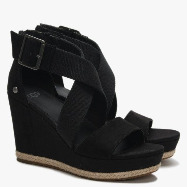 4d4d23a61d75 Ugg - Calla Black Textile Cross Strap Wedge Sandals - Lyst. View fullscreen