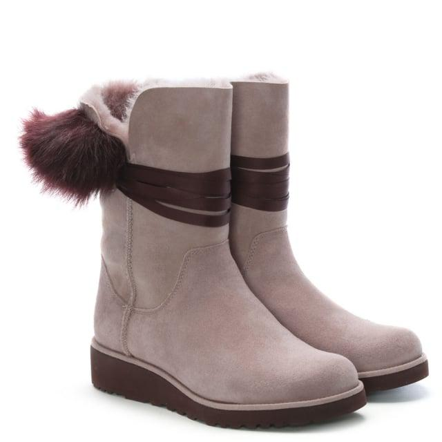 404ff34bdcd UGG Brita Dusk Twinface Pom Pom Ankle Boots in Brown - Lyst