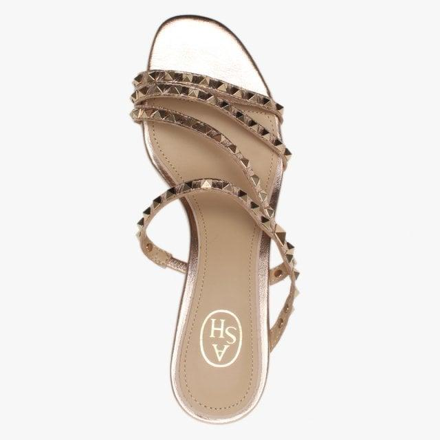 1f0b72af3 Ash - Metallic Kate Studs Rose Gold Leather Kitten Heel Sandals - Lyst.  View fullscreen
