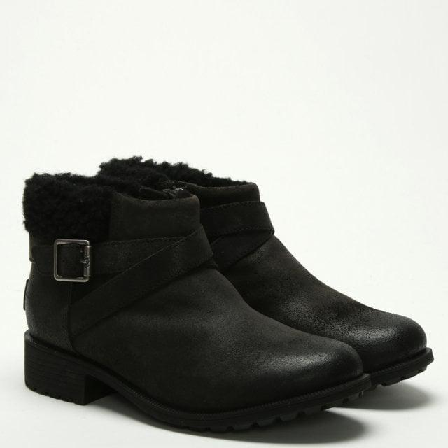 49af5eb000f6 Ugg - Benson Black Leather Ankle Boots - Lyst. View fullscreen