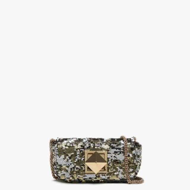 81b7c403e6 Sonia Rykiel. Women's Metallic Small Le Copain Gold Sequin Cross-body Bag
