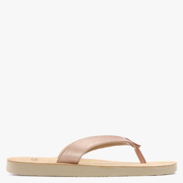 ffab84a87a3 Lyst - UGG Tawney Rose Gold Metallic Toe Post Flip Flops in Pink