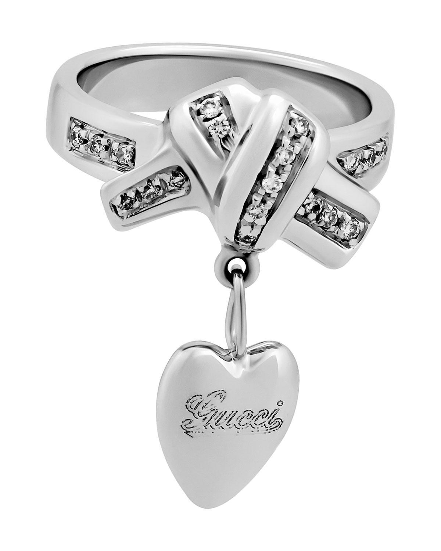 ea9a83390 Lyst - Gucci Estate 18k White Gold Diamond Heart Ribbon Ring Size 4 ...