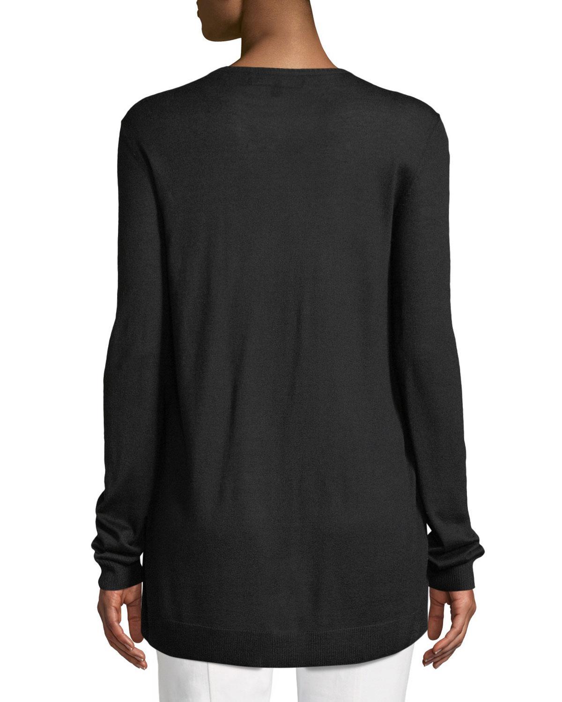 dd6c43613 St. John. Women's Black Jersey Knit Cardigan W/ Floral-print Silk Front