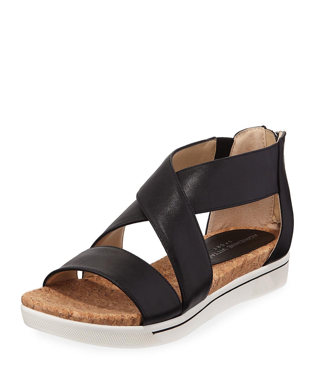 47330955df8a Lyst - Adrienne Vittadini Claud Sport Leather Crisscross Sandal in Black