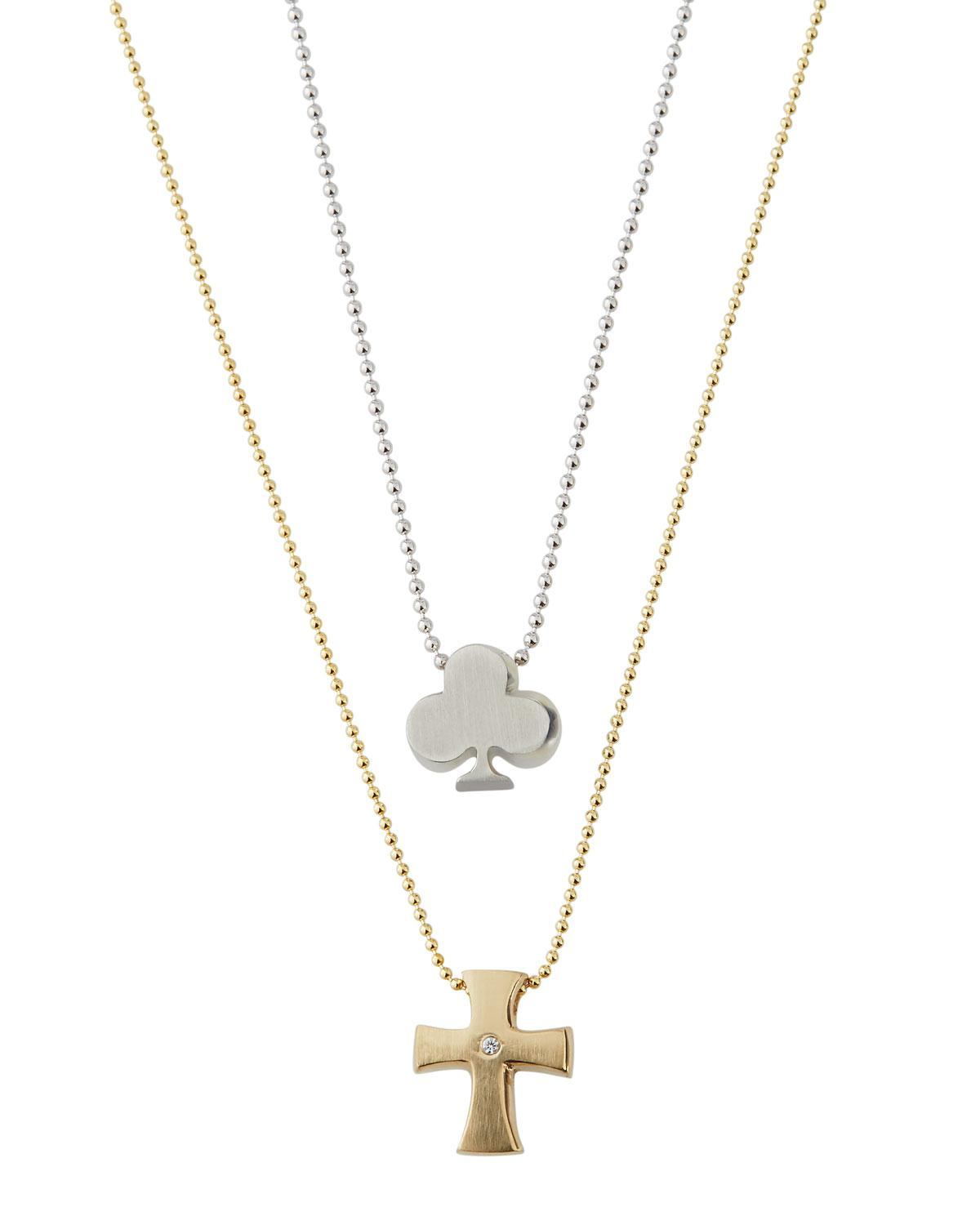 285d69ffd Lyst - Alex Woo Little Faith Cross & Club Necklace Two-tone in Metallic