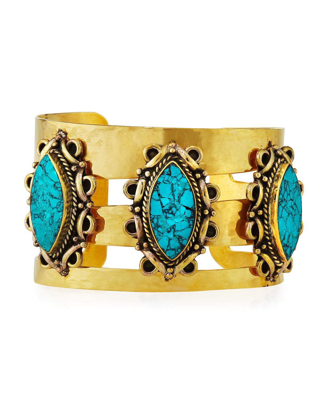 Devon Leigh Antiqued Lapis & Coral Cuff Bracelet ldmUycd