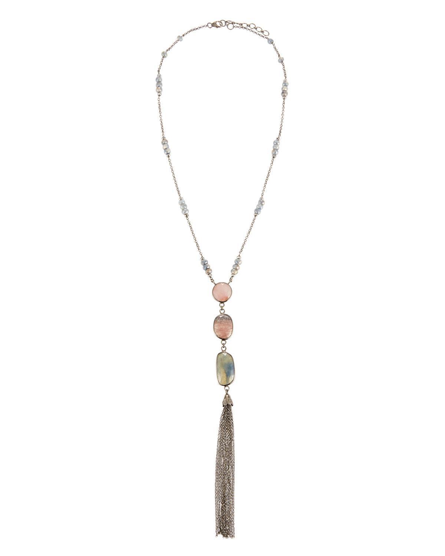 Bavna Moonstone & Amethyst Tassel Necklace yk1bqeT02Q