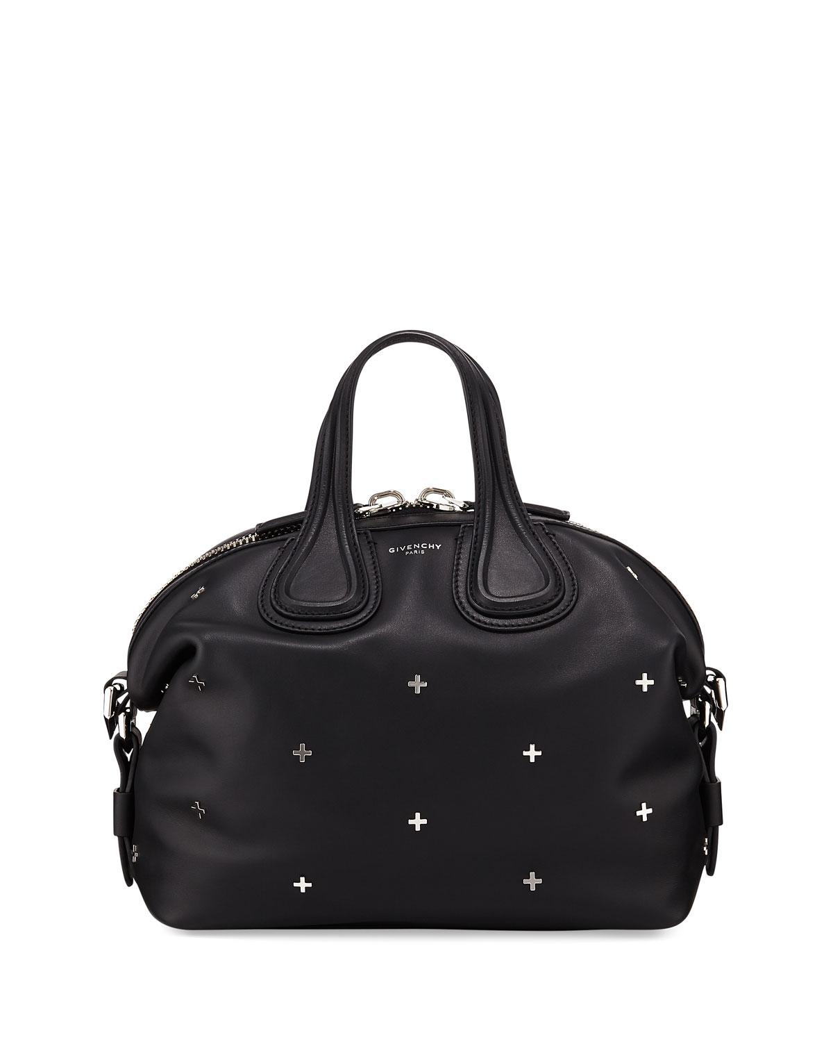 86eb90e14b Lyst - Givenchy Nightingale Small Studded Leather Satchel Bag in Black